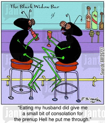 black widows cartoon humor: 'Eating my husband did give me a small bit of consolation for the prenup Hell he put me through.'