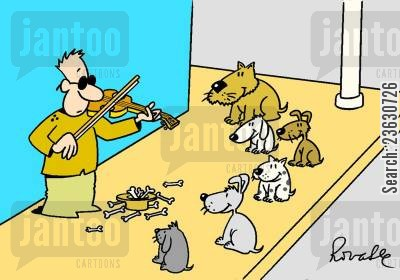 busker cartoon humor: Blind busker with a canine audience.