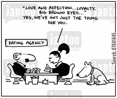 blind dating cartoon humor: 'Love and affection, loyalty, big brown eyes. Yes, we've got just the thing for you.'