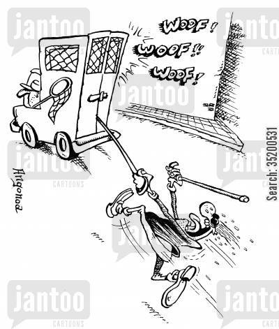 blindman cartoon humor: Blind man being dragged along by the dog catches van as his guidedog is in the back still attached to the lead