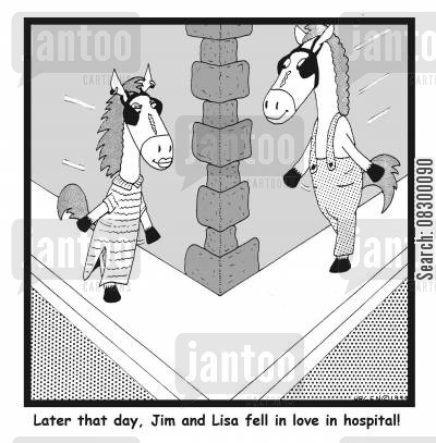 restricted eyesight cartoon humor: Later that day, Jim and Lisa fell in love in hospital!