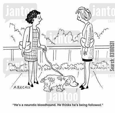 pedigree dogs cartoon humor: 'He's a neurotic bloodhound. He thinks he's being followed.'