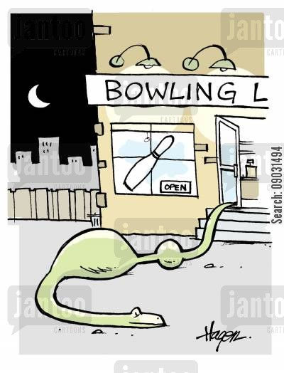 boa cartoon humor: Snake leaving bowling alley with bowler and ball.
