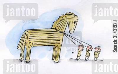 hector cartoon humor: Trojan Horse.
