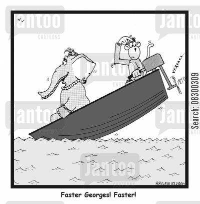 oversize cartoon humor: Faster, Georges, faster!