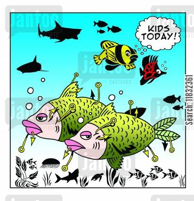 fish hook cartoon humor: Kids today!