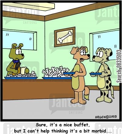 function cartoon humor: 'Sure, it's a nice buffet, but I can't help thinking it's a bit morbid...'