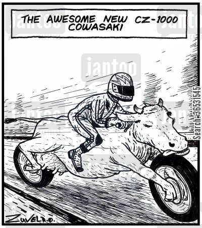 motorcycles cartoon humor: The awesome new CZ 1000 Cowasaki.