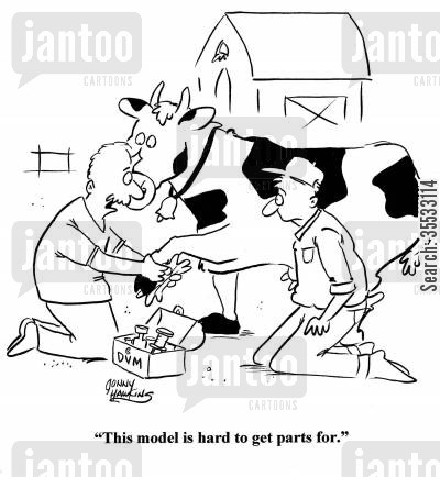 farm animals cartoon humor: 'This model is hard to get parts for.'