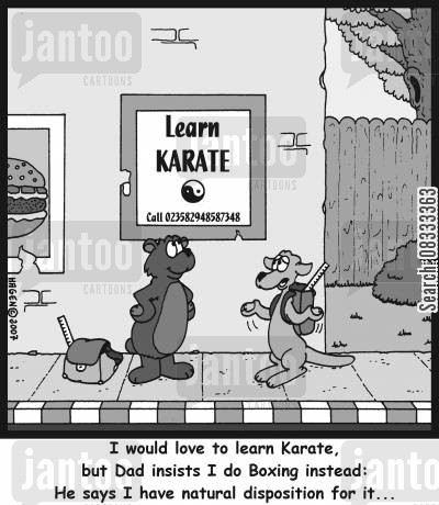 boxing kangaroos cartoon humor: I would love to learn Karate, but Dad insists I do Boxing instead: He says I have natural disposition for it...