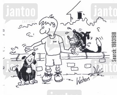 temptation cartoon humor: Dog eating boy's ice cream.