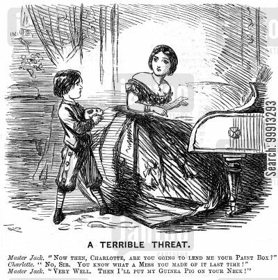 torment cartoon humor: Boy threatens to put his guinea pig on his sister's neck