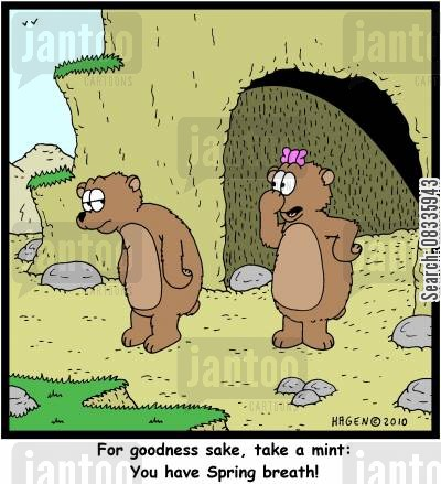 breath mint cartoon humor: 'For goodness sake, take a mint: You have Spring breath!'