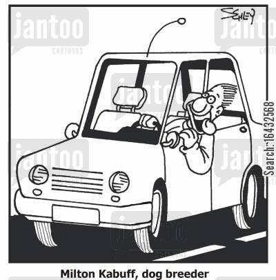 car windows cartoon humor: 'Milton Kabuff, dog breeder.'