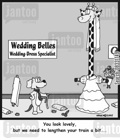 dress maker cartoon humor: 'You look lovely, but we need to lengthen your train a bit...'