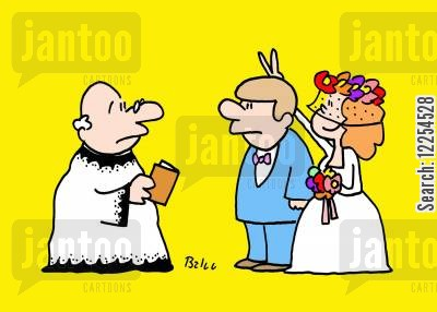 bunny ears cartoon humor: Bride Makes Rabbit Ears over Groom's Head.