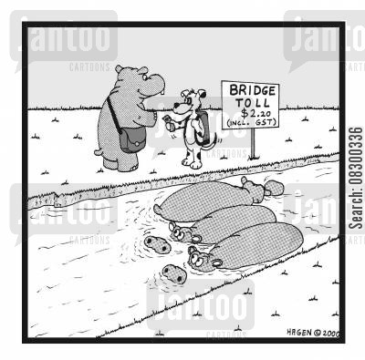 bridge toll cartoon humor: Bridge Toll.
