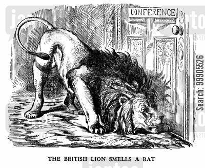lions cartoon humor: Suspicions by the British at Peace Terms following the Crimean War