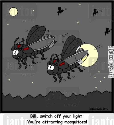 biting insects cartoon humor: 'Bill, switch off your light: You're attracting mosquitoes!'