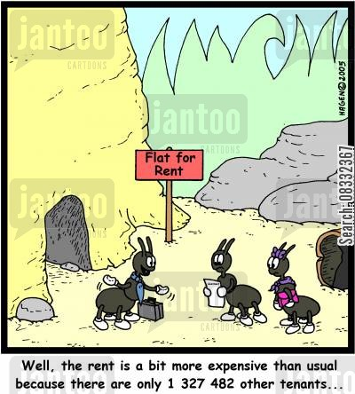tennant cartoon humor: 'Well, the rent is a bit more expensive than usual because there are only 1 327 482 other tenants...'