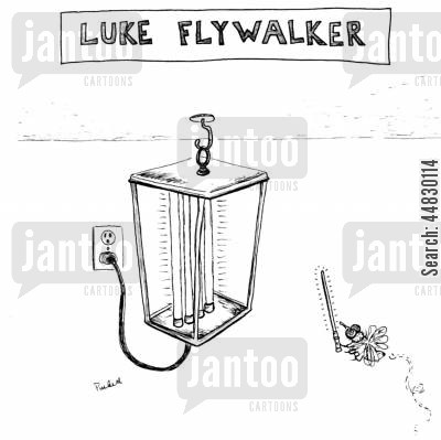 fly trap cartoon humor: Luke Flywalker.