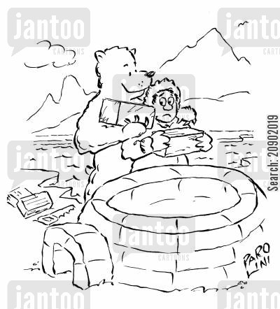building brick cartoon humor: Igloo Building.