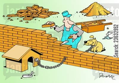 kennel cartoon humor: Dog with chain stuck in wall.
