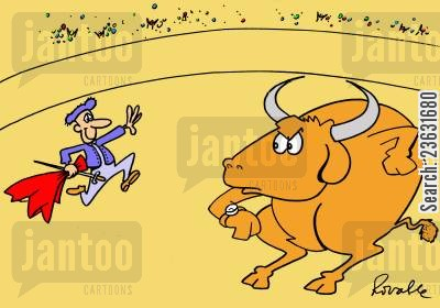 bullfights cartoon humor: Matador late for bullfight.