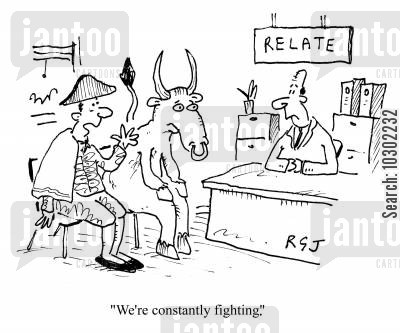 counselling service cartoon humor: 'We're constantly fighting'