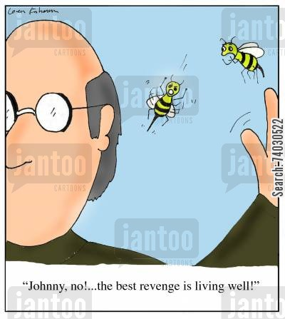 missions cartoon humor: 'Johnny, no!...the best revenge is living well!'