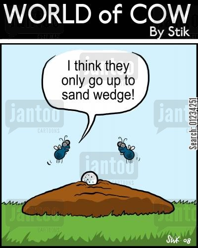 sand wedge cartoon humor: 'I think they only go up to sand wedge!'