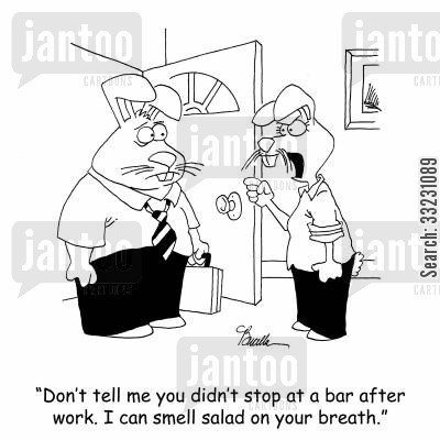 after work cartoon humor: 'Don't tell me you didn't stop at a bar after work. I can smell salad on your breath.'