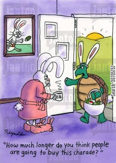 easter celebrations cartoon humor: 'How much longer do you think people are going to buy this charade?'
