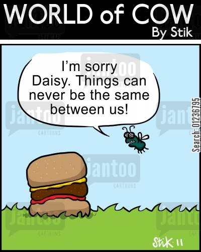 processed meat cartoon humor: 'I'm sorry Daisy. Things can never be the same between us!'