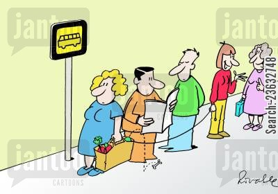 shopping bag cartoon humor: A dog goes into a woman's shopping at a bus stop.