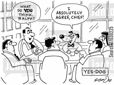 staff meeting cartoon humor: Yes-dog.