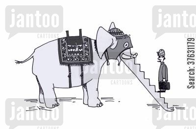 trunk cartoon humor: Elephant with escalator trunk for Indian businessman.