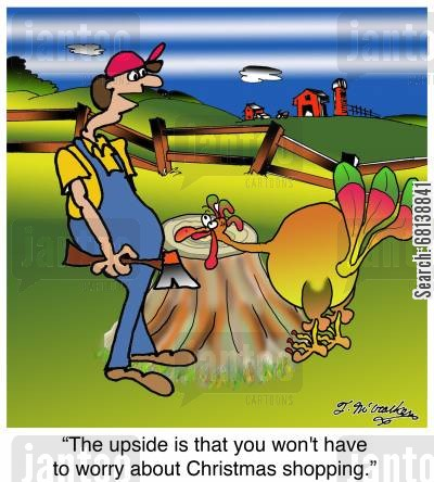 slaughter house cartoon humor: 'The upside is that you won't have to worry about Christmas shopping.'