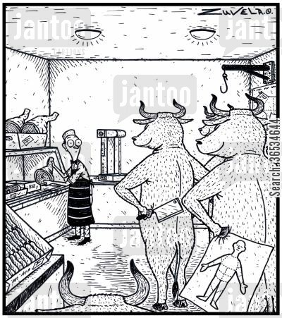 steaks cartoon humor: Angry Bulls about to try out their version of Butchering on an unsuspecting Butcher