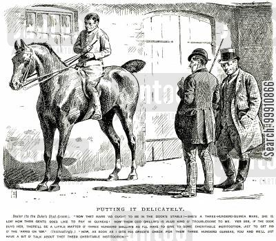 buy cartoon humor: Dealer and groom discussing the sale of a horse