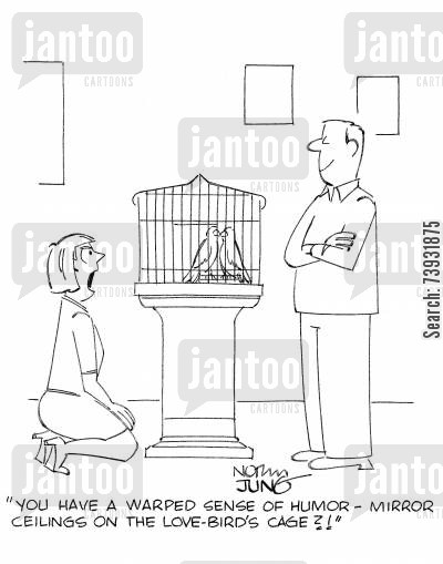 bird cages cartoon humor: 'You have a warped sense of humor - mirror ceilings on the love-birds cage?!'