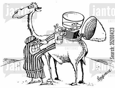 camel cartoon humor: Camels hump is actually a water dispenser tank