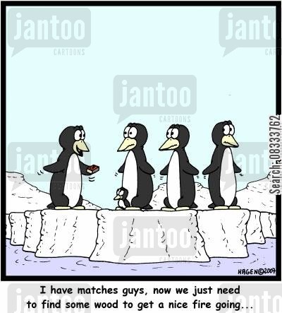 fire wood cartoon humor: 'I have matches guys, now we just need to find some wood to get a nice fire going...'