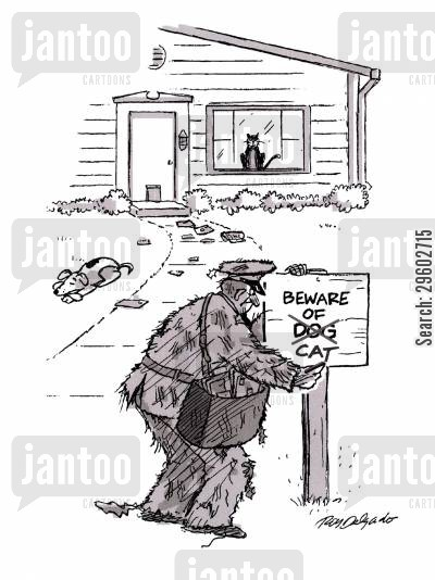 deliveries cartoon humor: Beware of cat.