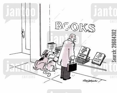 book stores cartoon humor: The dog, cat & lawyer book.