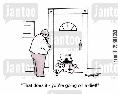 catflap cartoon humor: 'That does it - you're going on a diet!'