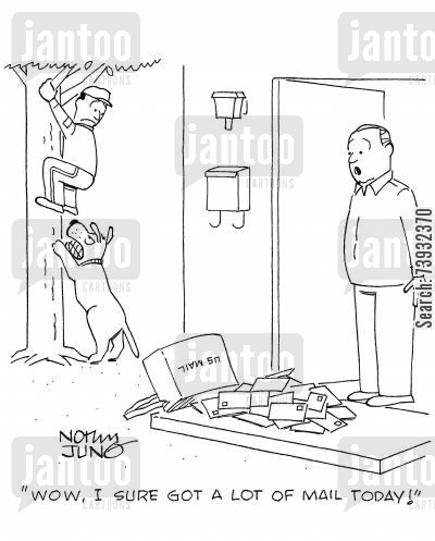 parcel cartoon humor: 'Wow, I sure got a lot of mail today!'