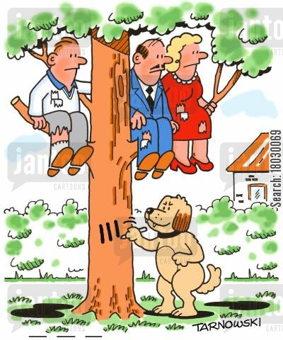 obedience training cartoon humor: Dog chasing people up a tree and keeping score.