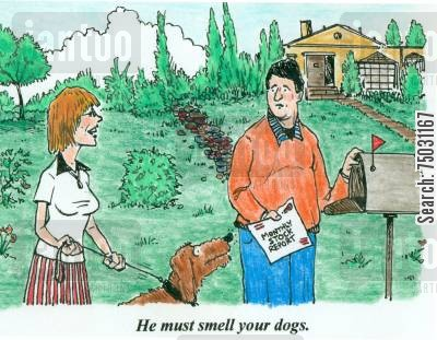 stock report cartoon humor: 'He must smell your dogs.'