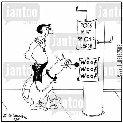 translations cartoon humor: Dogs Must Be On A Leash.